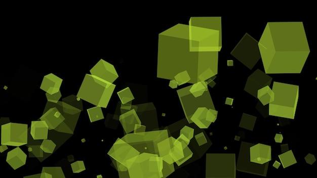 黒い背景の3d画像に緑の立方体を飛んで抽象的な幾何学的な背景