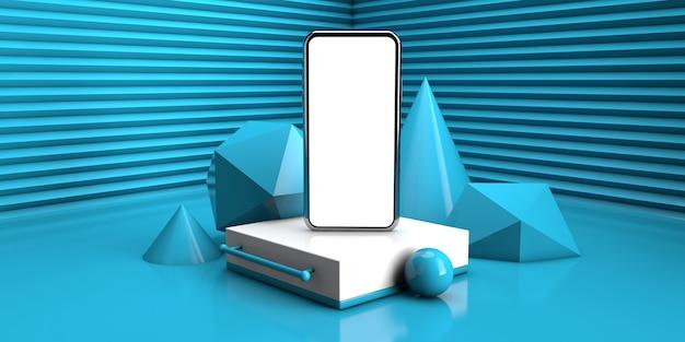 青い色で抽象的な幾何学的な背景。 3 dレンダリング図に現代のスマートフォンの概念
