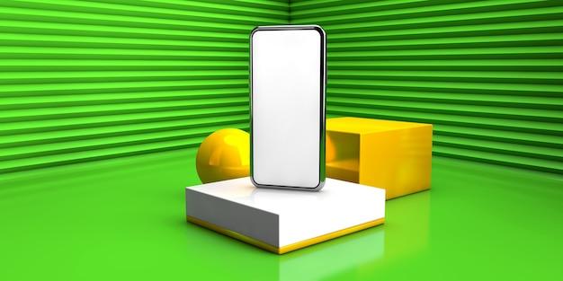 緑の色で抽象的な幾何学的な背景。 3 dレンダリング図で現代のスマートフォンの概念。