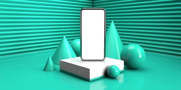 薄緑色で抽象的な幾何学的な背景。 3 dレンダリング図に現代のスマートフォンの概念