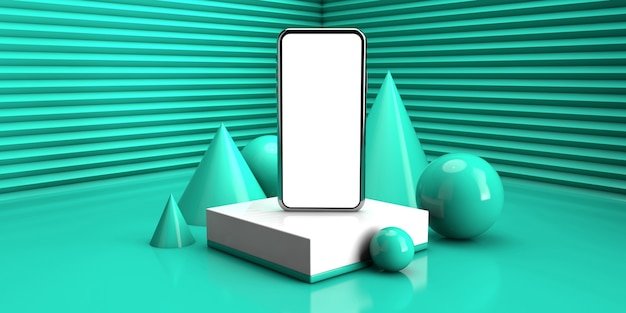 Abstract geometric background in light green color. concept of modern smartphone in 3d render illustration
