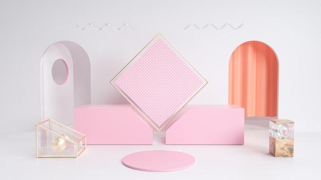 長方形の表彰台と抽象的な幾何学的な背景