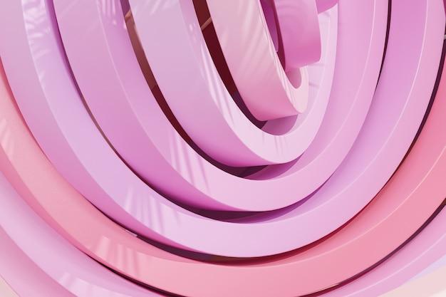 열대 잎 그림자, 3d 렌더링 파스텔 핑크 색상의 반지 또는 원 추상 기하학적 배경