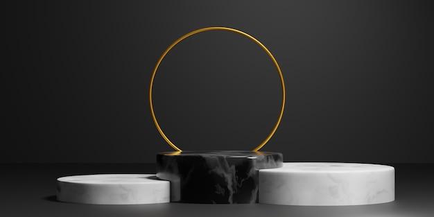 Абстрактный геометрический черный мрамор и золотое кольцо элегантный подиум для презентации продукта. 3d иллюстрация