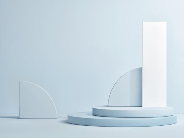 製品プレゼンテーション、3dレンダリング、3dイラストの抽象的な幾何学的な青い表彰台