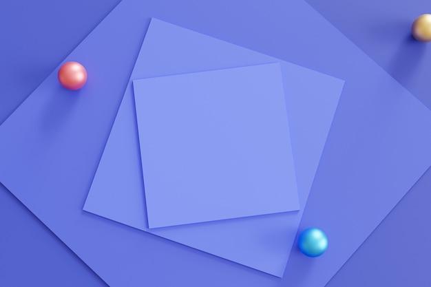 正方形の紙のカードとカラフルな球体と抽象的な幾何学的な青い表面