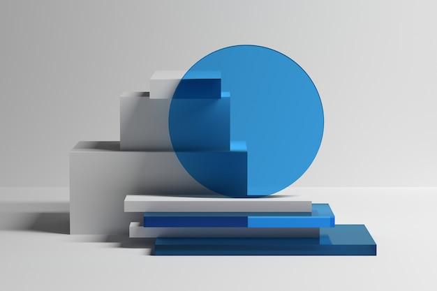 Абстрактная геометрическая композиция с примитивными матовыми белыми и синими стеклянными фигурами 3d иллюстрация