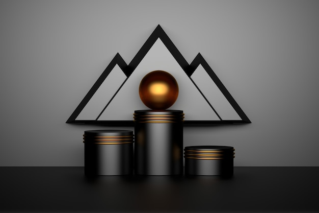 Abstract geometric composition with shiny black pedestals podiums golden rings sphere ball and triangles looking like mountains