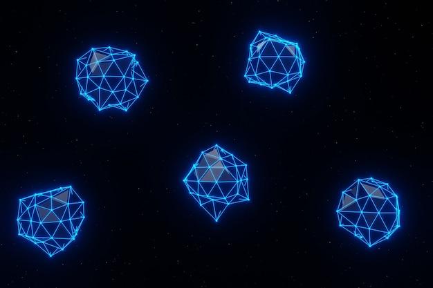 추상적 인 기하학적 연결된 점선 신경총 디지털 기술 배경 3d 렌더링