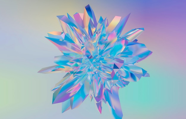 Abstract geometric crystal background, iridescent texture, faceted gem, liquid. 3d render.