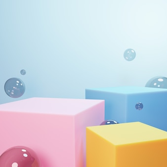 Abstract geometric cubes and bubbles