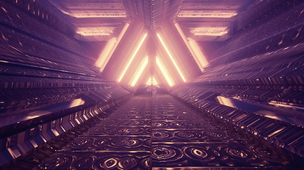Abstract geometric futuristic architecture background 4k uhd 3d illustration of tunnel perspective with metallic cells reflecting golden neon light