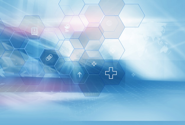 Abstract geometric hexagonal shape medicine and science background