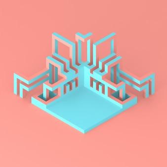Абстрактный геометрический современный подиум с развивающейся трубчатой структурой 3d иллюстрация