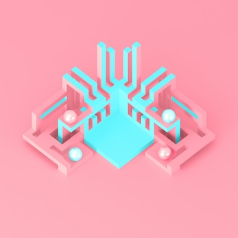 Abstract geometric modern podium with developing tube structures 3d illustration