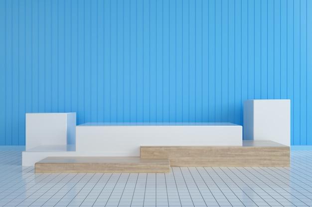 製品スタンド用の剥ぎ取られた壁を備えた抽象的な幾何学的なプラットフォーム