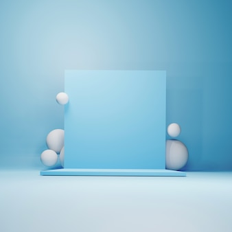 Abstract geometric podium, blank  minimalistic empty showcase template, modern art deco shop display, pastel colors. 3d render.