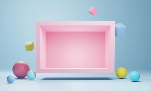 Abstract geometric podium , blank  minimalistic empty showcase template, modern art deco shop display, pastel colors. 3d rendering.