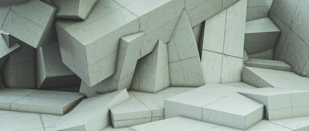 Abstract of a geometric polygonal concrete wall.