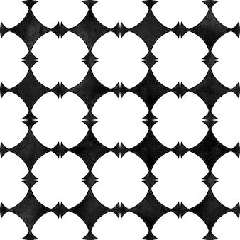 抽象的な幾何学的なシームレスパターン。シンプルな形と図の黒と白のミニマリストモノクロ水彩アートワーク。水彩の円の形をしたテクスチャ。テキスタイル、壁紙、ラッピング用に印刷