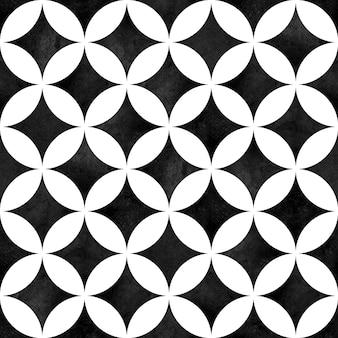 抽象的な幾何学的なシームレスパターン。黒と白のミニマリストモノクロ水彩アートワーク。