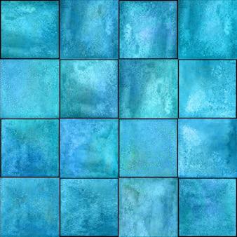 抽象的な幾何学的なシームレスパターン。マーブルティールブルーターコイズ手描きの水彩画のアートワークとシンプルな正方形の形の図。水彩モザイクテクスチャ。テキスタイル、壁紙、ラッピング用に印刷