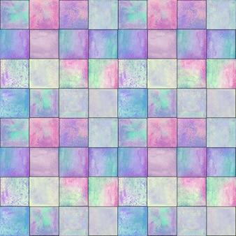抽象的な幾何学的なシームレスパターン。シンプルな正方形の形の数字でマルチカラーピンクパープルブルー手描き水彩アートワーク。水彩モザイクテクスチャ。テキスタイル、壁紙、ラッピング用に印刷
