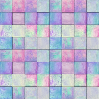 Abstract geometric seamless pattern. multicolor pink purple blue hand drawn watercolor artwork with simple squares shapes figures. watercolour mosaic texture. print for textile, wallpaper, wrapping