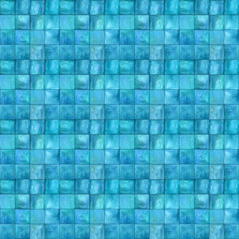抽象的な幾何学的なシームレスパターン。シンプルな正方形の形の数字でマルチカラーティールブルーターコイズ手描き水彩アートワーク。水彩モザイクテクスチャ。テキスタイル、壁紙、ラッピング用に印刷