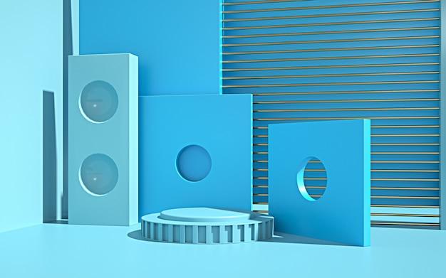製品の表示のための円形の表彰台と抽象的な幾何学的形状の背景