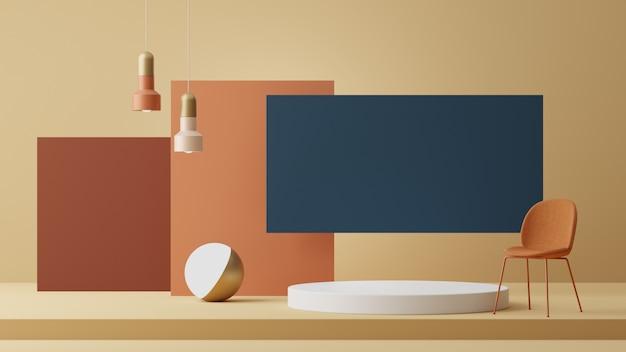 Абстрактный геометрический фон формы с отделкой и подиум