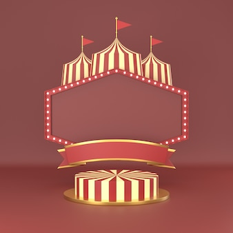 Abstract geometric shape carnival design for cosmetic or product display podium 3d render.