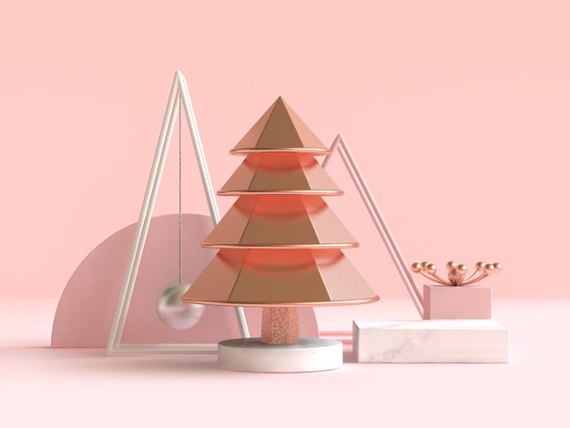 Abstract geometric shape christmas tree concept decoration 3d render