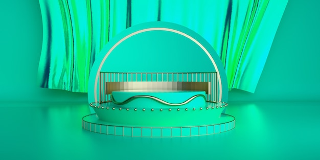 스탠드 제품에 대 한 받침대와 추상적 인 기하학적 모양 녹색 배경
