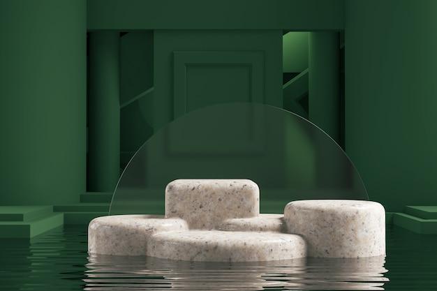 Абстрактная геометрическая форма зеленого цвета сцены минимальная, дизайн для косметических или демонстрационных подиумов 3d визуализации.