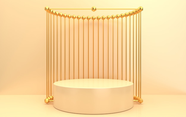 Abstract geometric shape group set, beige background, golden cage, 3d rendering, scene with geometrical forms, round marble pedestal inside the gold frame, metal curtain on the background