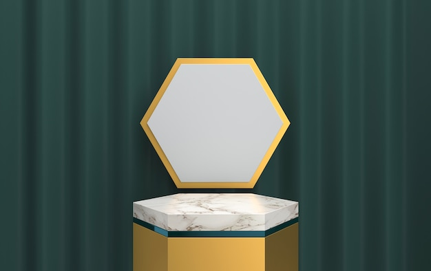 Abstract geometric shape group set, curtain on the background, deep green background, 3d rendering, scene with geometrical forms, minimalistic hexagon marble platform, gold frame