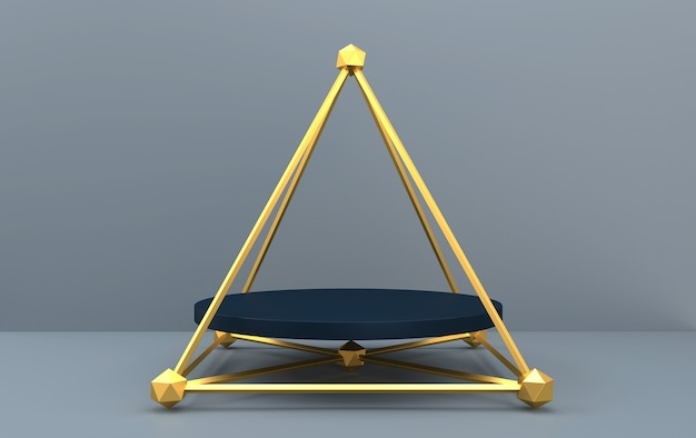 Abstract geometric shape group set, grey background, golden cage, 3d rendering, scene with geometrical forms, round pedestal inside the golden pyramid, fashion minimalistic scene