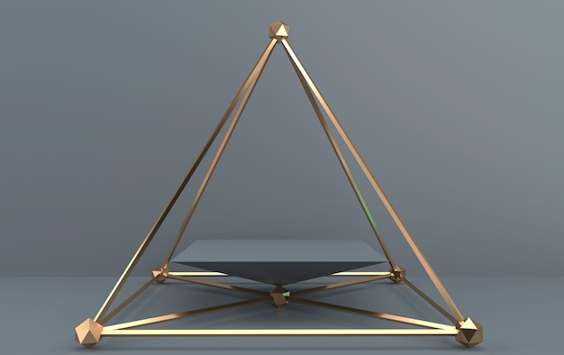 Abstract geometric shape group set, grey background, golden cage, 3d rendering, scene with geometrical forms, square pedestal inside the golden pyramid