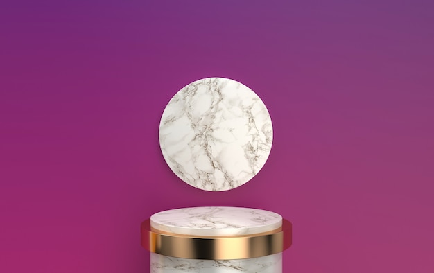 Abstract geometric shape group set, marble pedestal with gold detail, 3d rendering, scene with geometrical forms, minimalistic round platform, round gold frame, marble disk