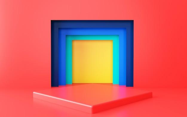 추상적 인 기하학적 모양 그룹 세트, 최소한의 포털, 3d 렌더링, 기하학적 형태의 장면