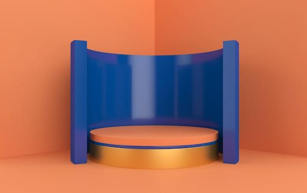 抽象的な幾何学的形状グループセットオレンジスタジオ背景ラウンド台座とゴールドベースの3dレンダリング