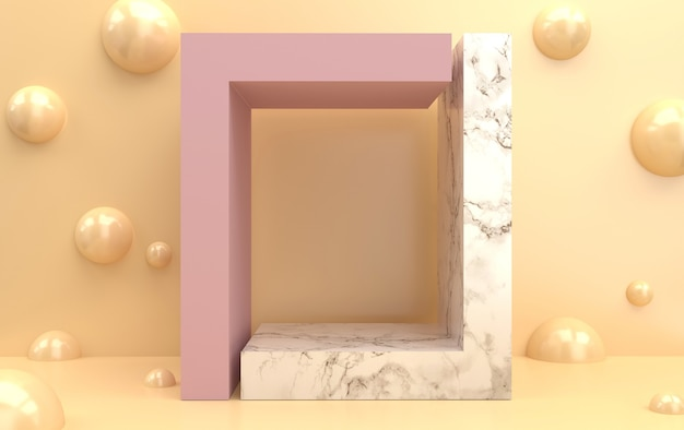 Abstract geometric shape group set, pastel background, geometric portal, marble pedestal, 3d rendering, scene with geometrical forms, pearl balls