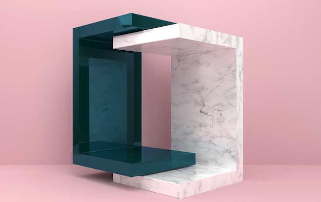 Abstract geometric shape group set, pink background, geometric portal, marble pedestal, 3d rendering, scene with geometrical forms, glass block, fashion minimalistic scene, simple clean design