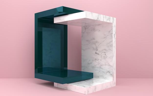 Набор абстрактных геометрических форм, розовый фон, геометрический портал, мраморный постамент, 3d-рендеринг, сцена с геометрическими формами, стеклянный блок, модная минималистичная сцена, простой чистый дизайн