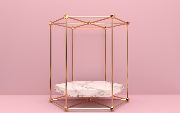Abstract geometric shape group set, pink background, golden cage, 3d rendering, scene with geometrical forms, marble pedestal inside the gold hexagon frame