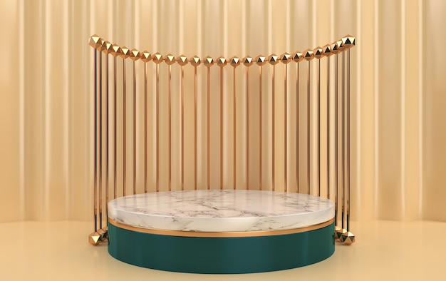 Abstract geometric shape group set, yellow background, golden cage, 3d rendering, scene with geometrical forms, round marble pedestal inside the gold frame, curtain on the background