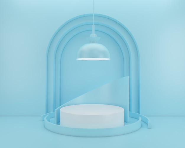 Abstract geometric shape pastel color  minimal modern style wall ,for booth podium stage display table