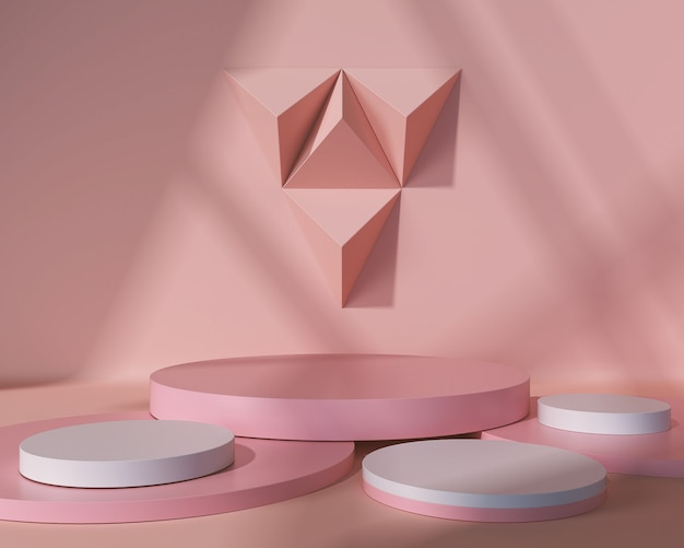 Abstract geometric shape pastel color scene minimal, design for cosmetic or product display podium 3d render.