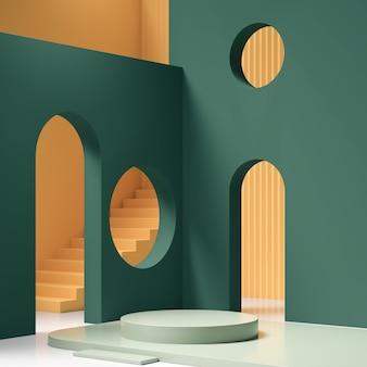 Абстрактная геометрическая форма пастельных цветов сцены минимальна, дизайн для косметики или отображения продукта на подиуме 3d визуализации.